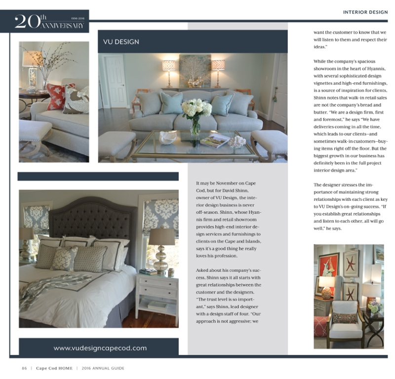 Vu Design was featured in the 2016 issue of Cape Cod Home magazine.